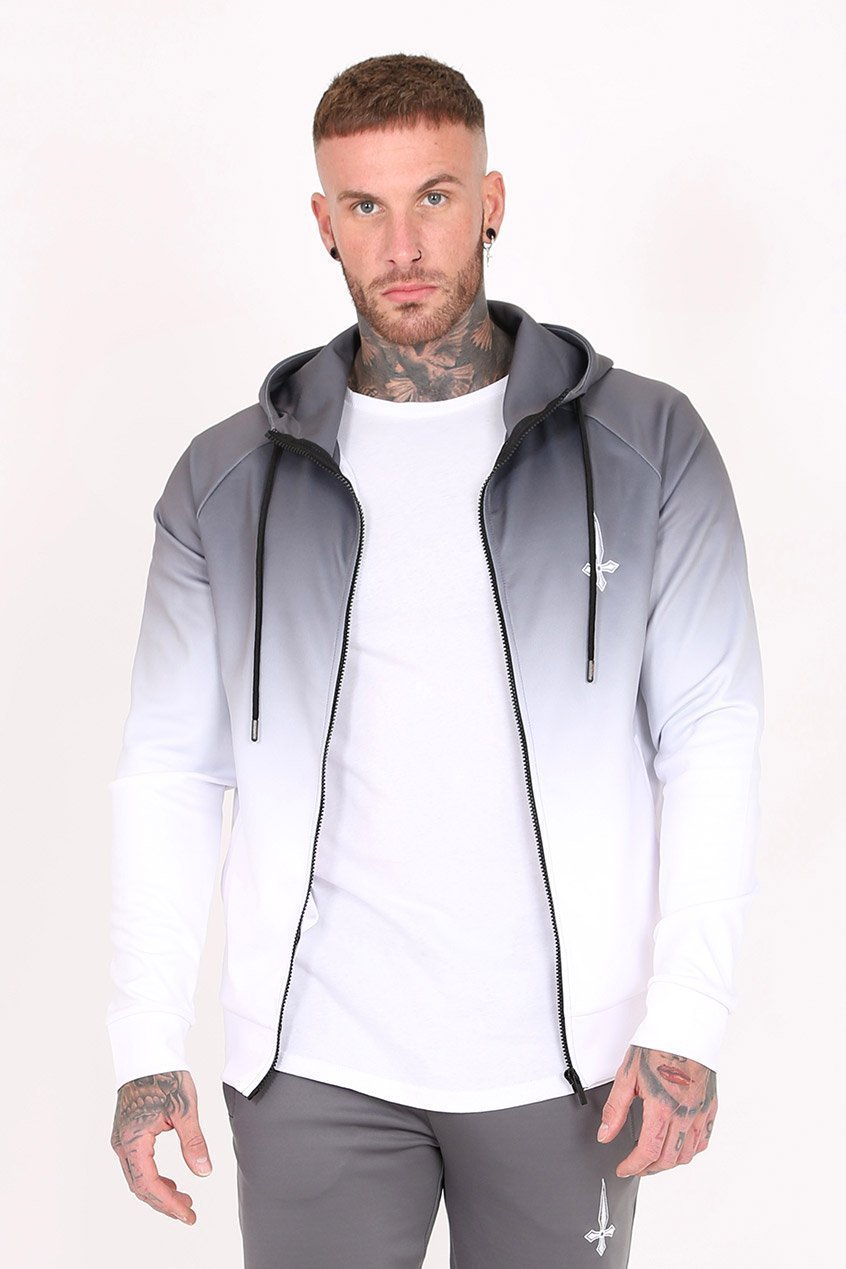 Midnight Dip Dye Embroidery Men's Hoodie - Grey, Small