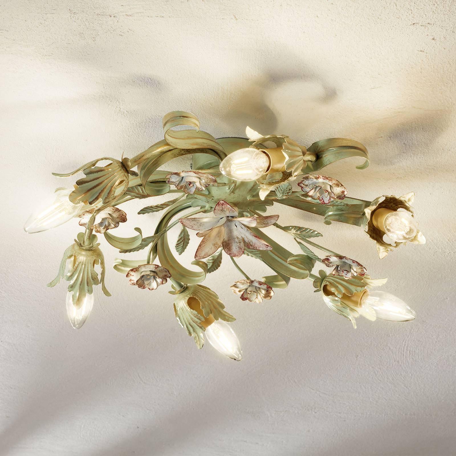 Taklampe Tulipe i floral utførelse, 6 lys