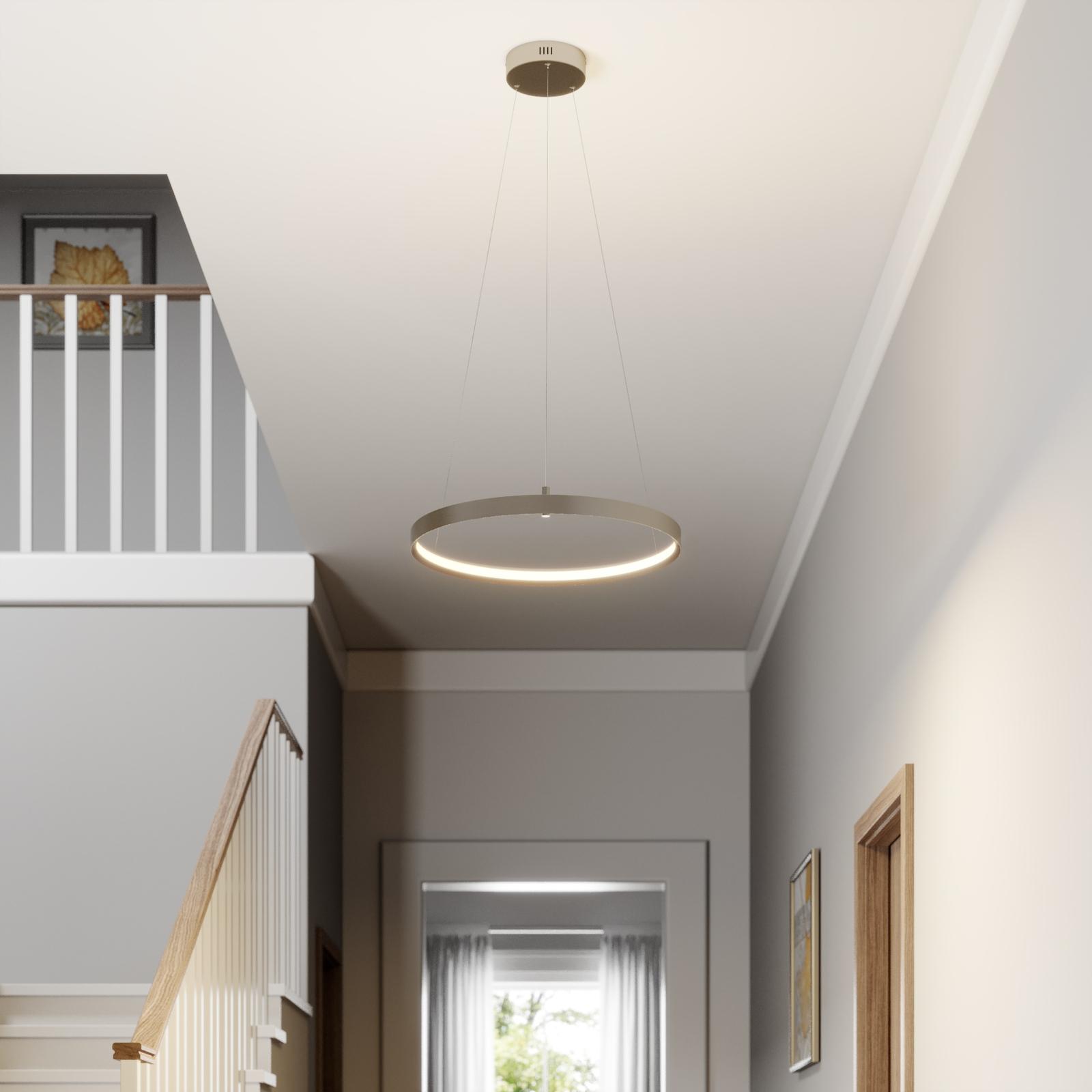 Lucande Naylia -LED-riippuvalo nikkeliä, Ø 60 cm