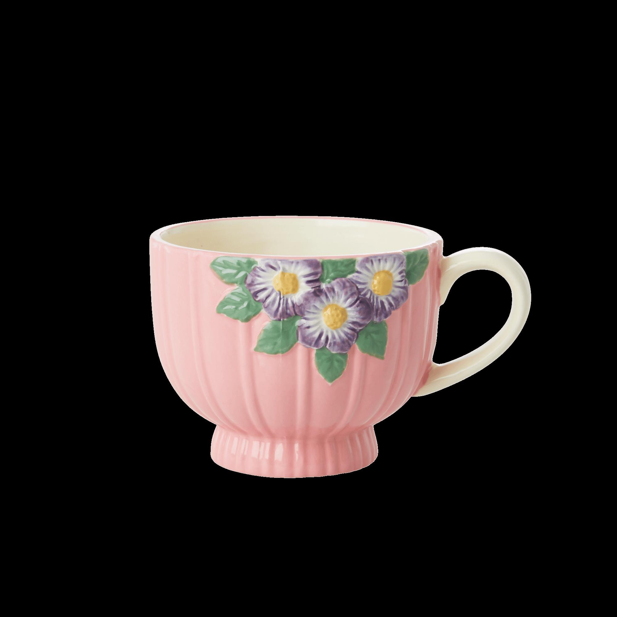 Rice - Ceramic Mug -Embossed Pink Flower Design