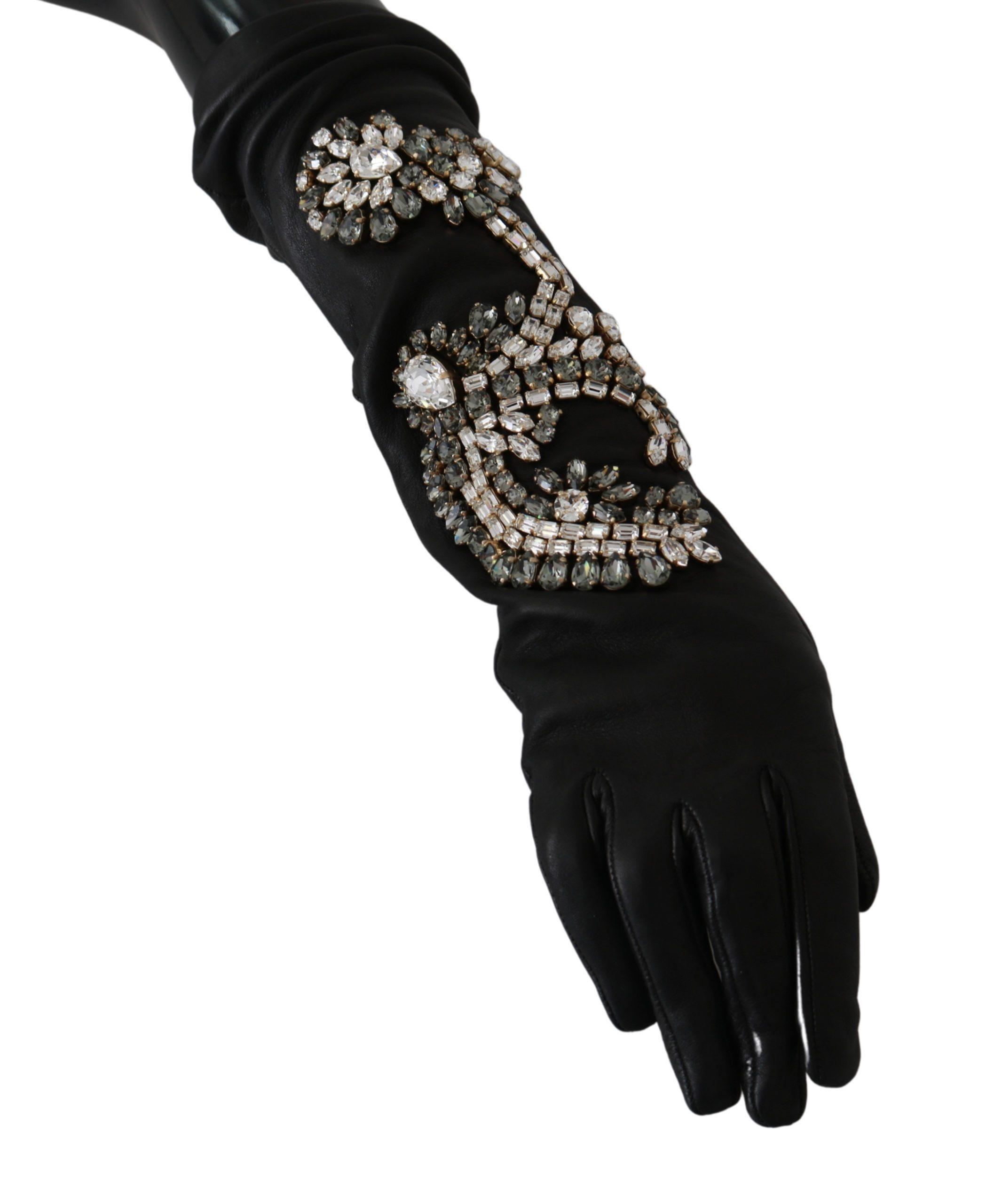 Dolce & Gabbana Women's Leather Lamb Skin Crystal Gloves Black LB1031 - 6.5|XS