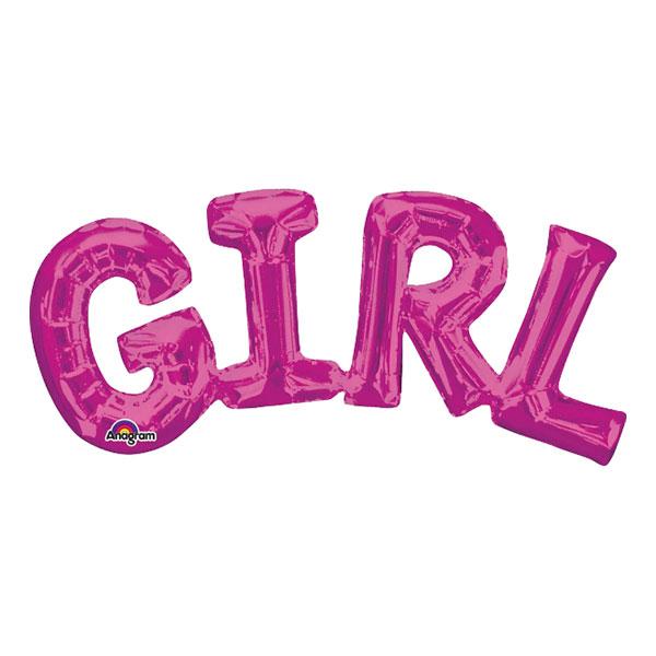 Bokstavsballong GIRL Rosa