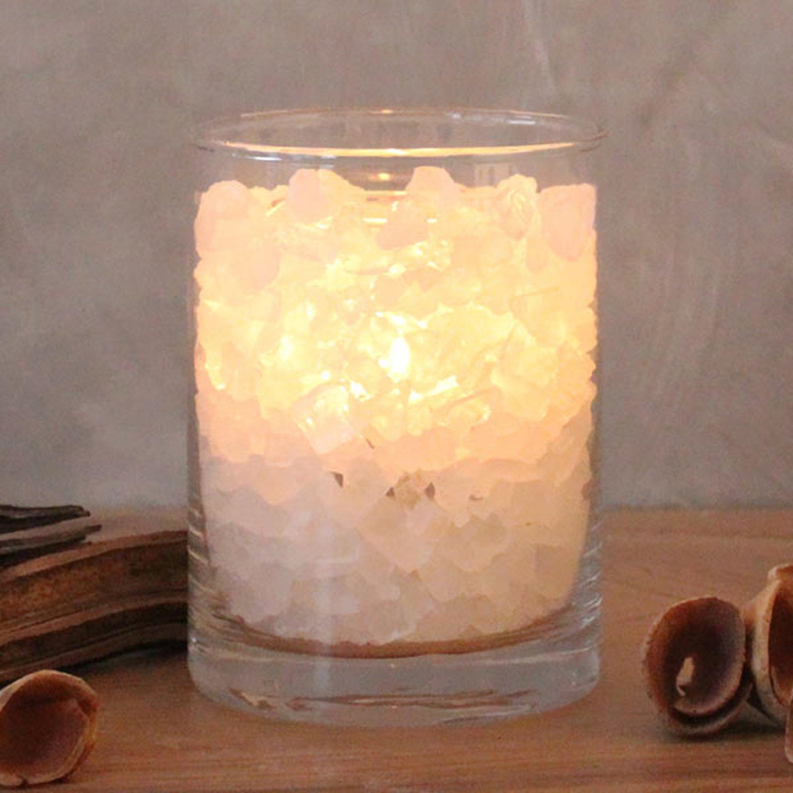 Saltkrystall polarildglass stearinlys av palmevoks