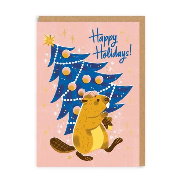 Happy Holidays Beaver Christmas Card