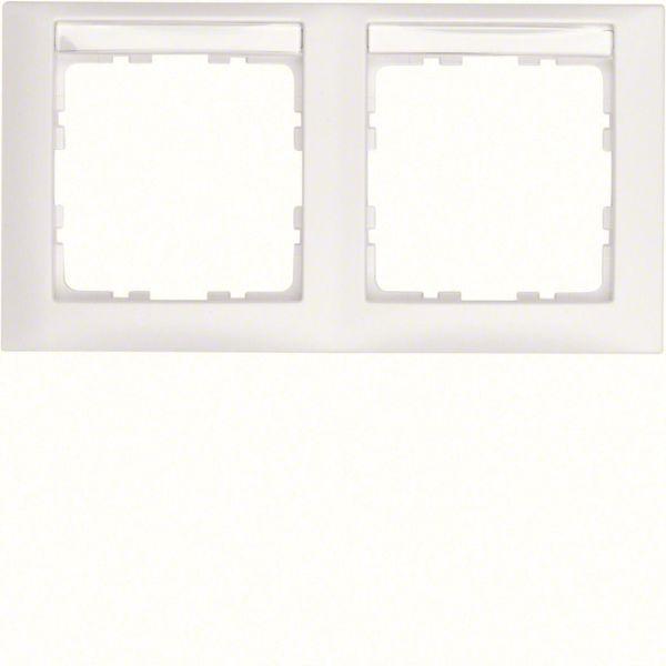 Hager 10229919 Yhdistelmäkehys etikettikentällä, valkoinen 2-paikkainen, S.1