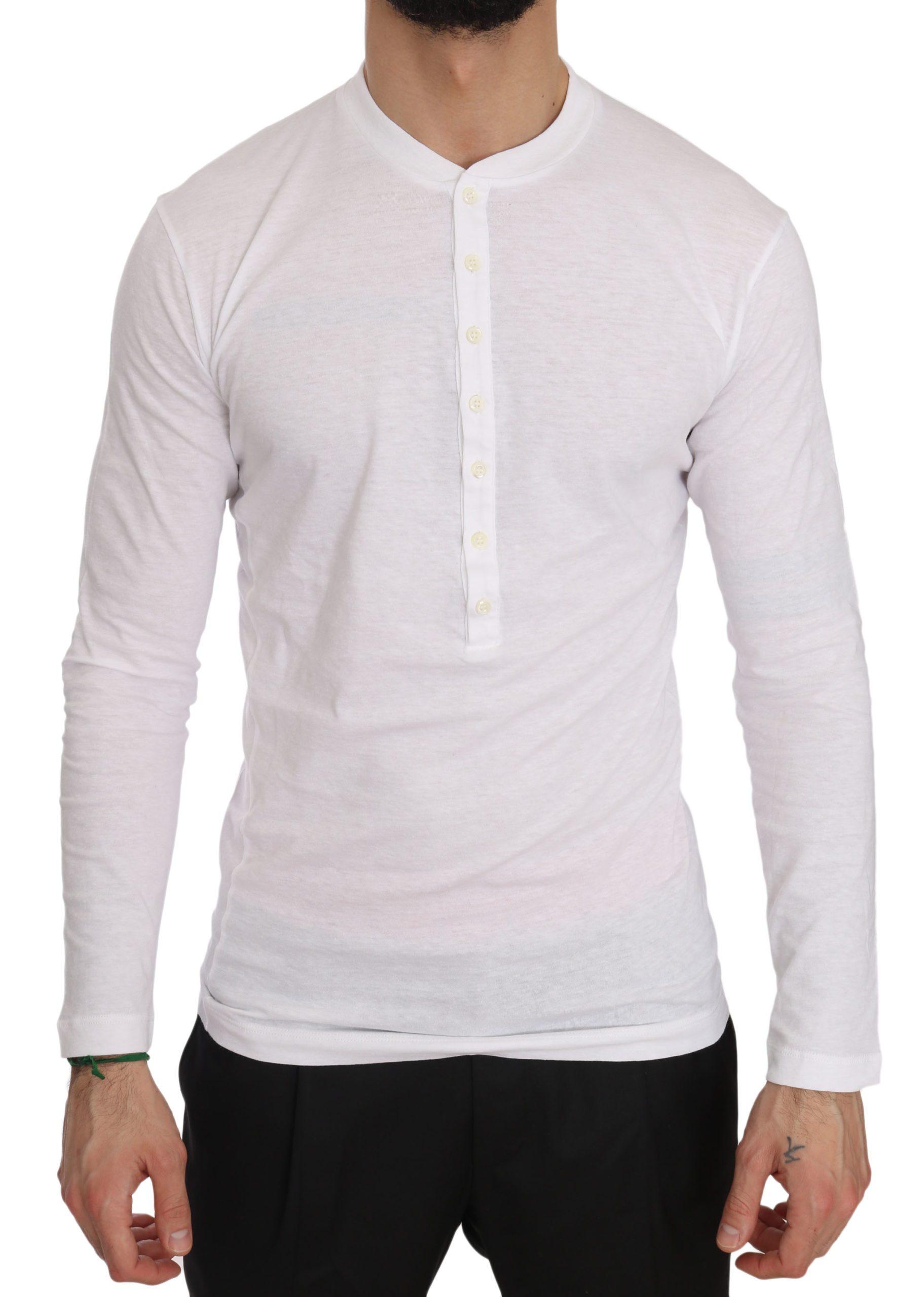 Dsquared² Men's Cotton Logo Print Henley T-Shirt White TSH3593 - XS