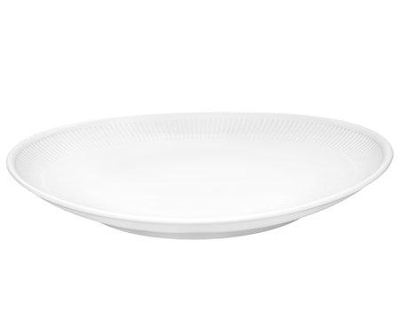 Plissé Oval Steaktallerken 29,5 cm Hvit