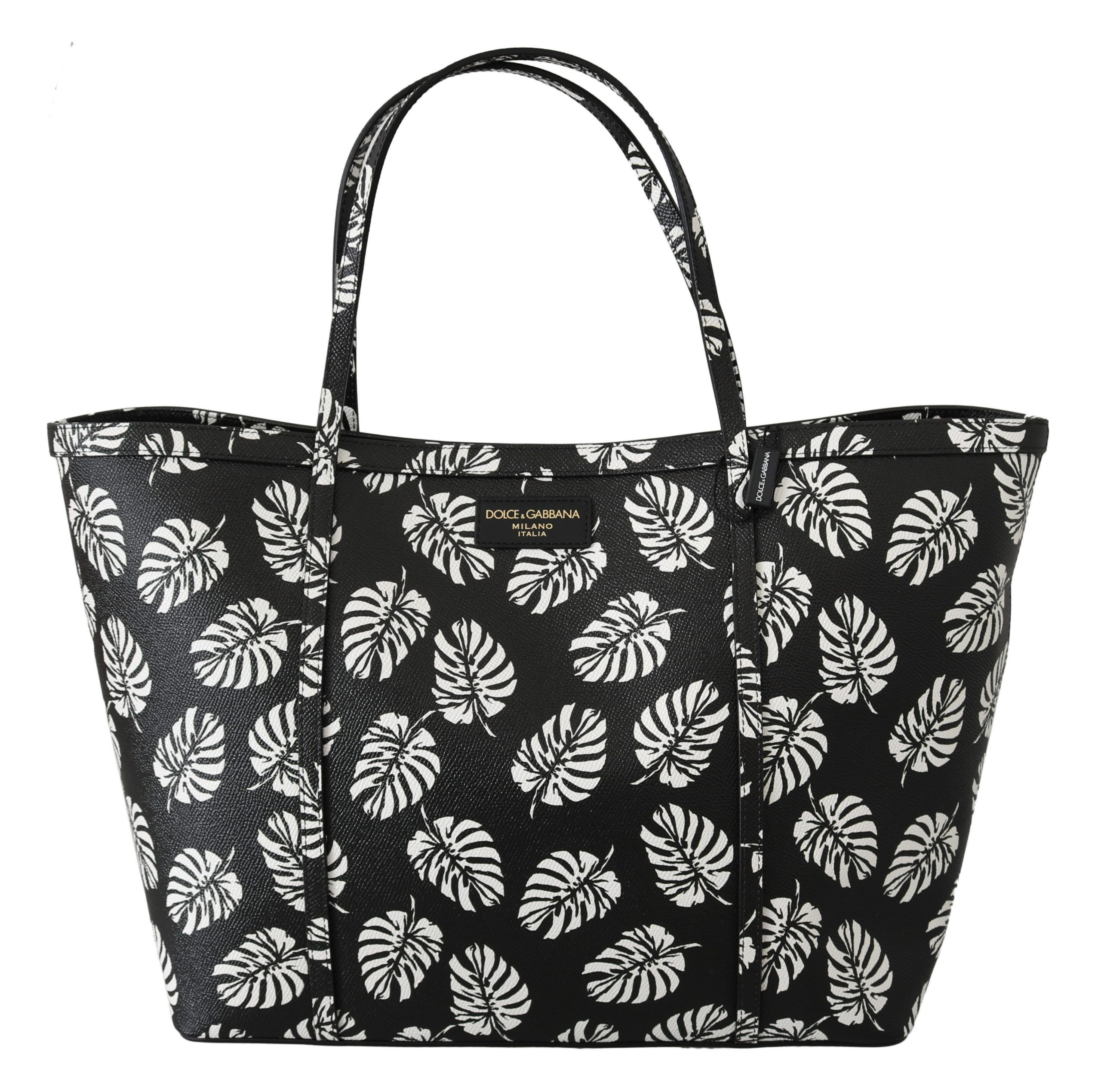 Black Palm Leaves BEATRICE Leather Purse Tote Bag