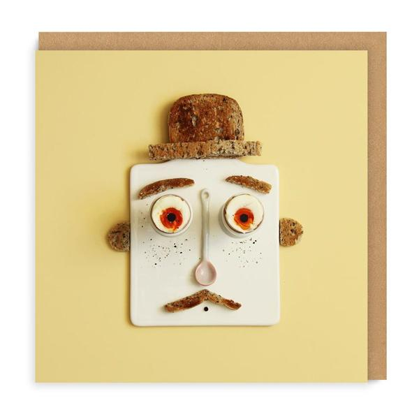 Eggs and Toast Face Square Greeting Card