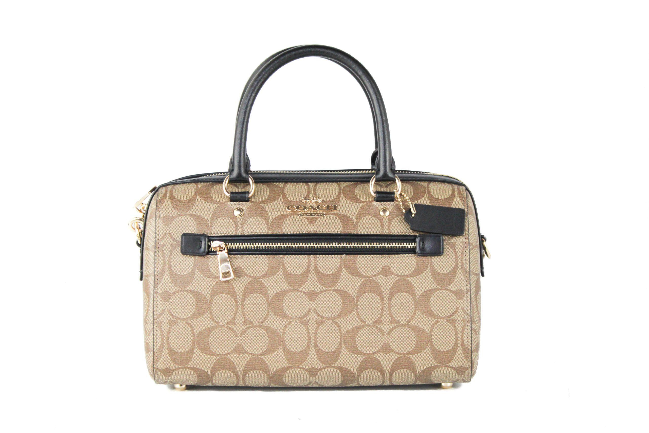COACH Women's Rowan Medium Satchel Bag Khaki Black 505237