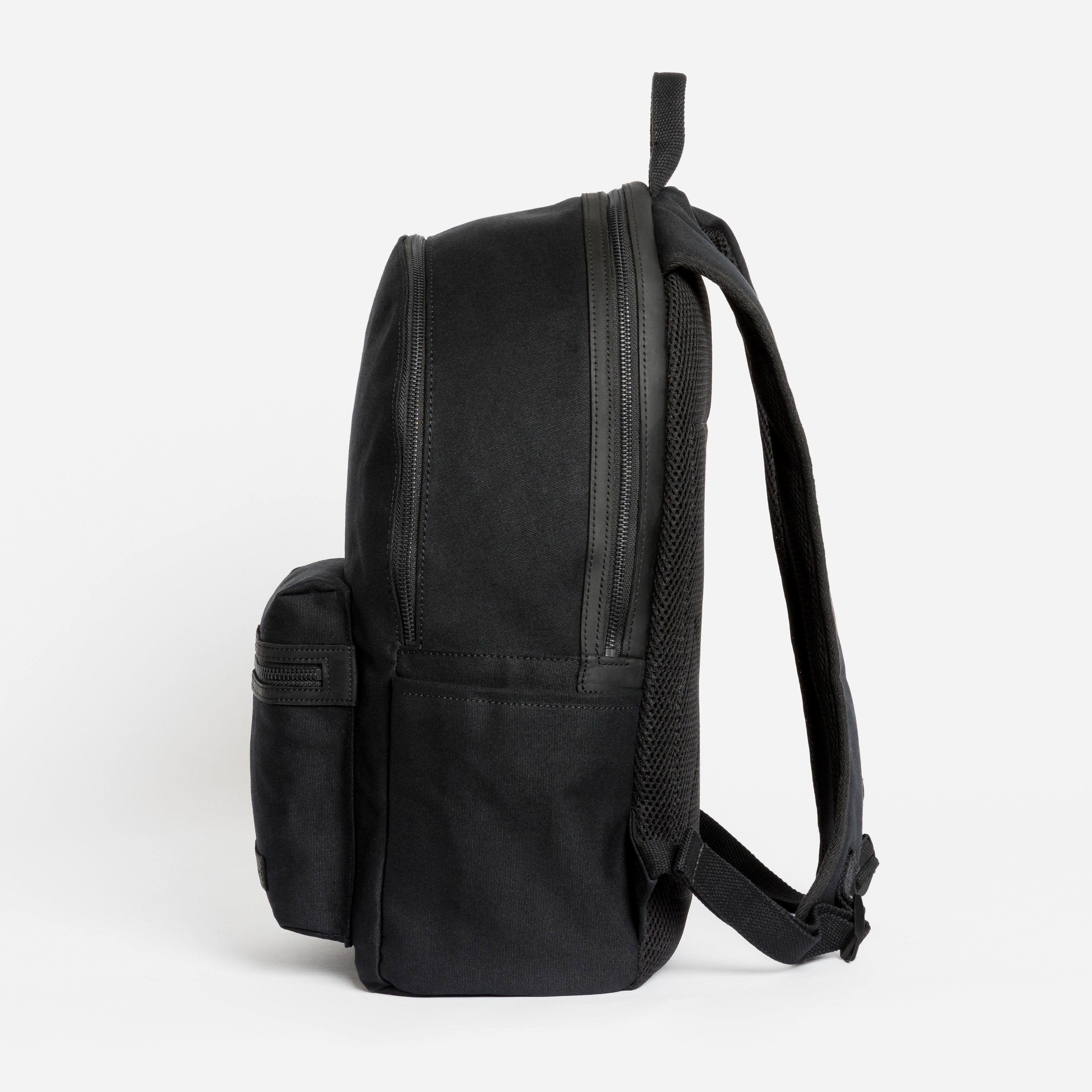 """The Commuter Backpack. Waterproofed Canvas and Leather. 16"""" Laptop Pocket., All Black"""
