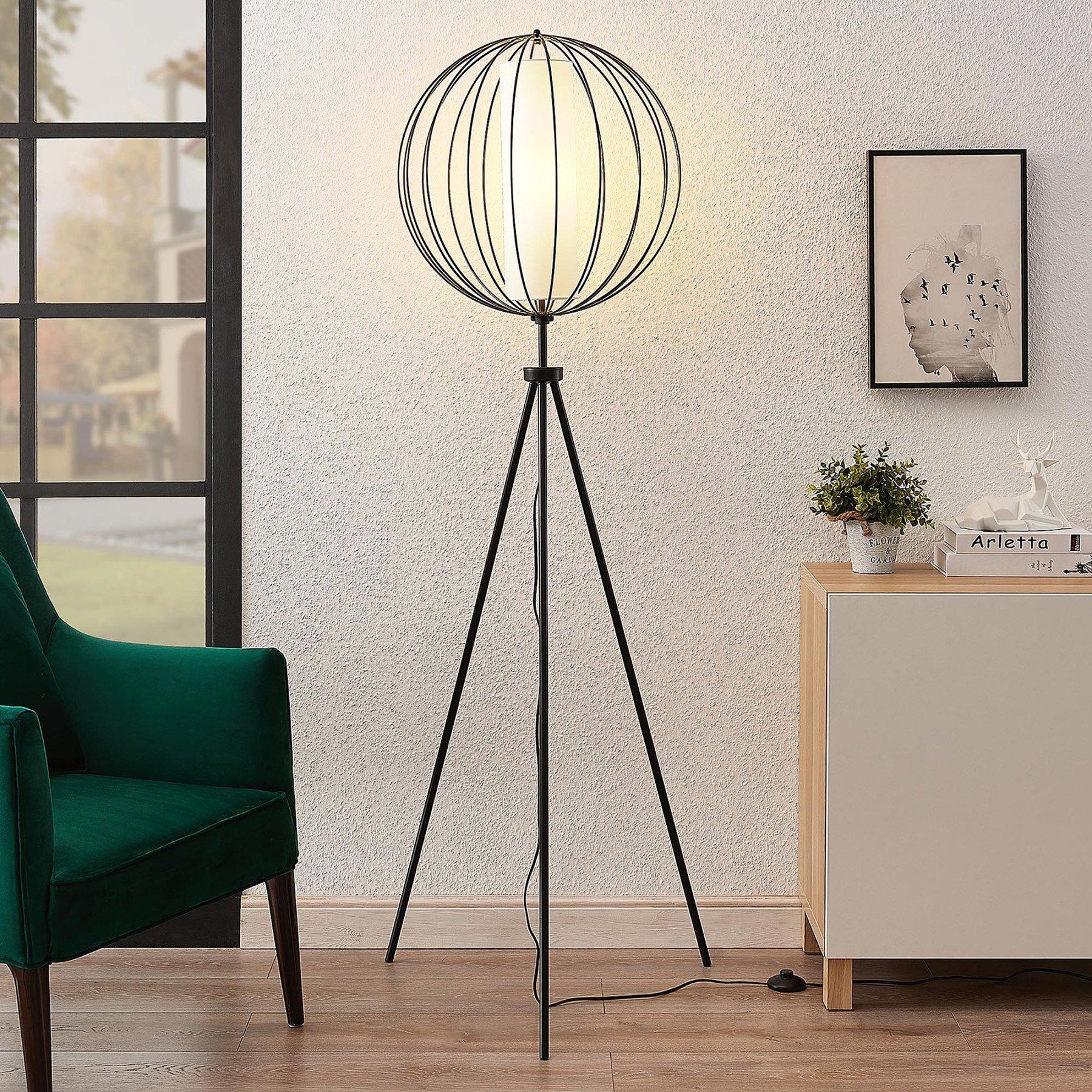 Lindby Koriko trebeint gulvlampe med bur-skjerm