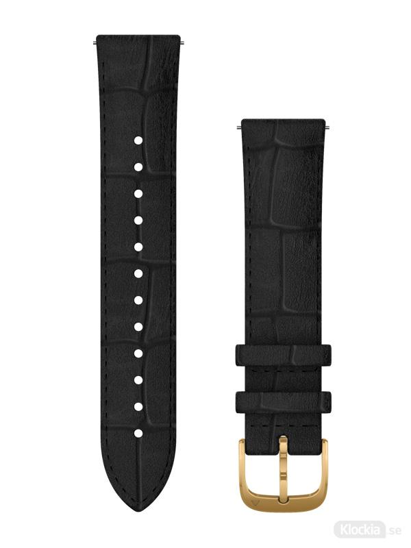 Garmin 20mm Svart präglat läderarmband med 24K guldfärgade PVD-detaljer