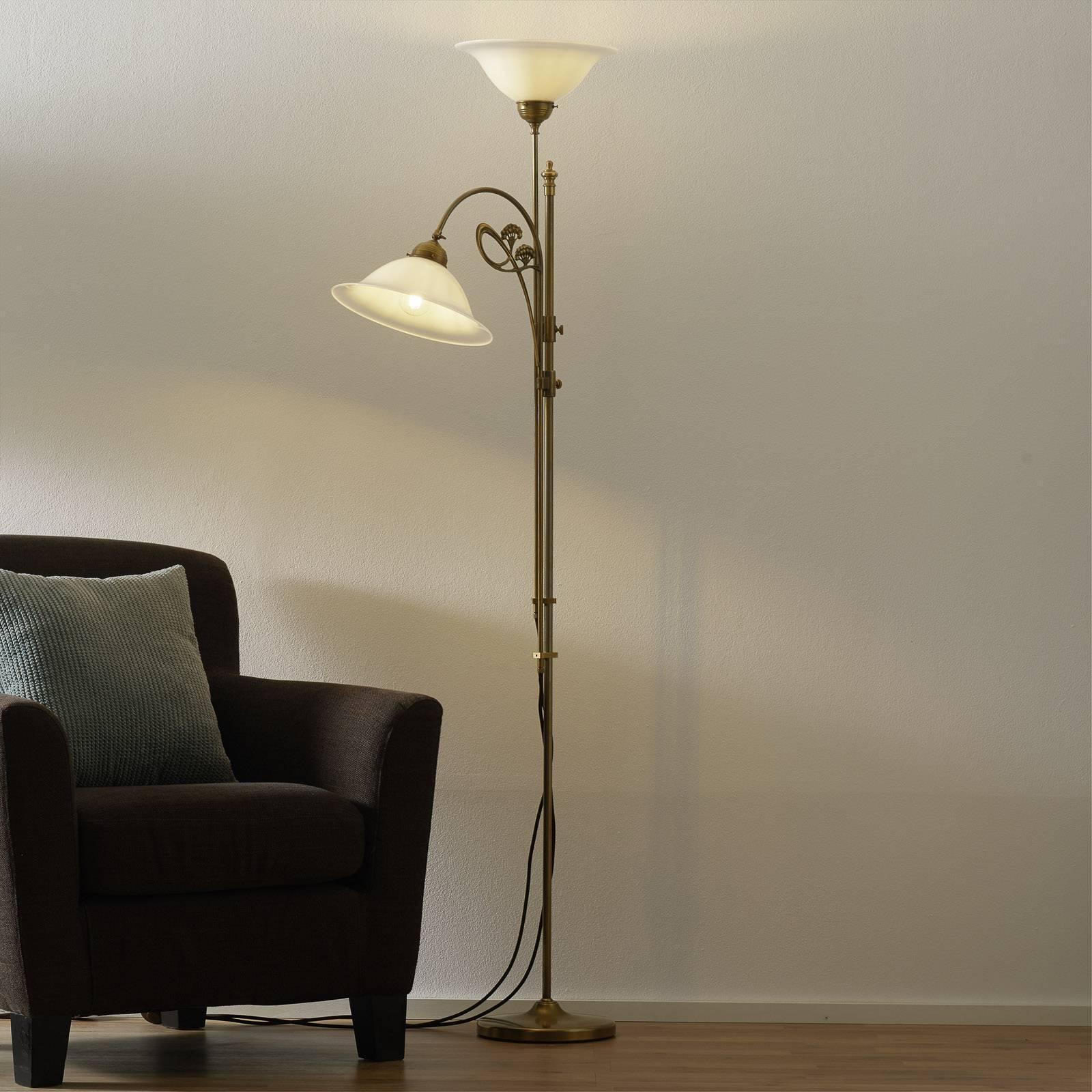 Messinkinen Alwine-lattiavalaisin, kaksilamppuinen