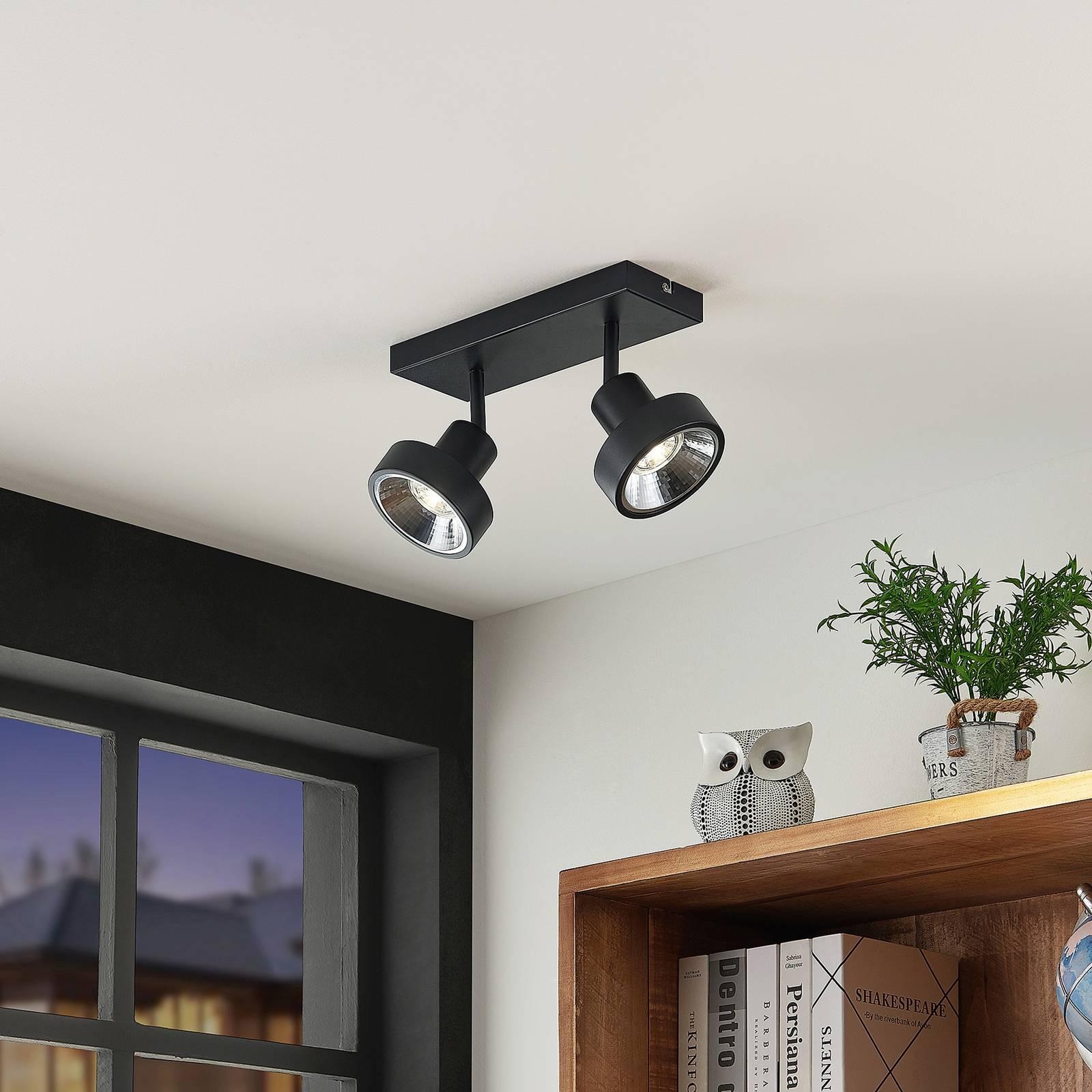 Lindby Ignacio -kattovalo, 2-lamppuinen, musta