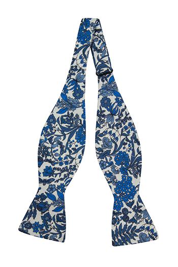 Bomull Sløyfer Uknyttede, Hvit base med blå blomster, Blå, Blomstrete