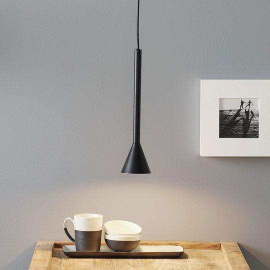 Lucande Caris -riippuvalo Ø 8,5 cm musta/valkoinen