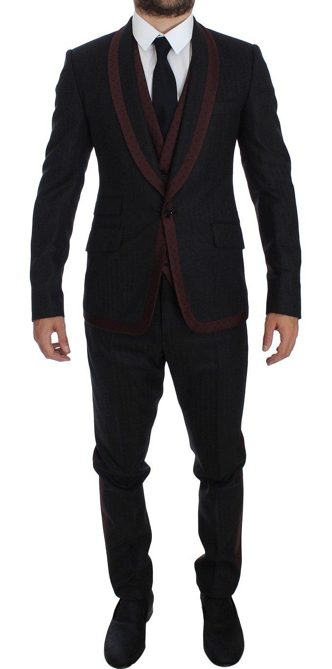 Dolce & Gabbana Men's Striped 3 Piece Slim Suit Tuxedo Gray GTT10177 - IT48 | M