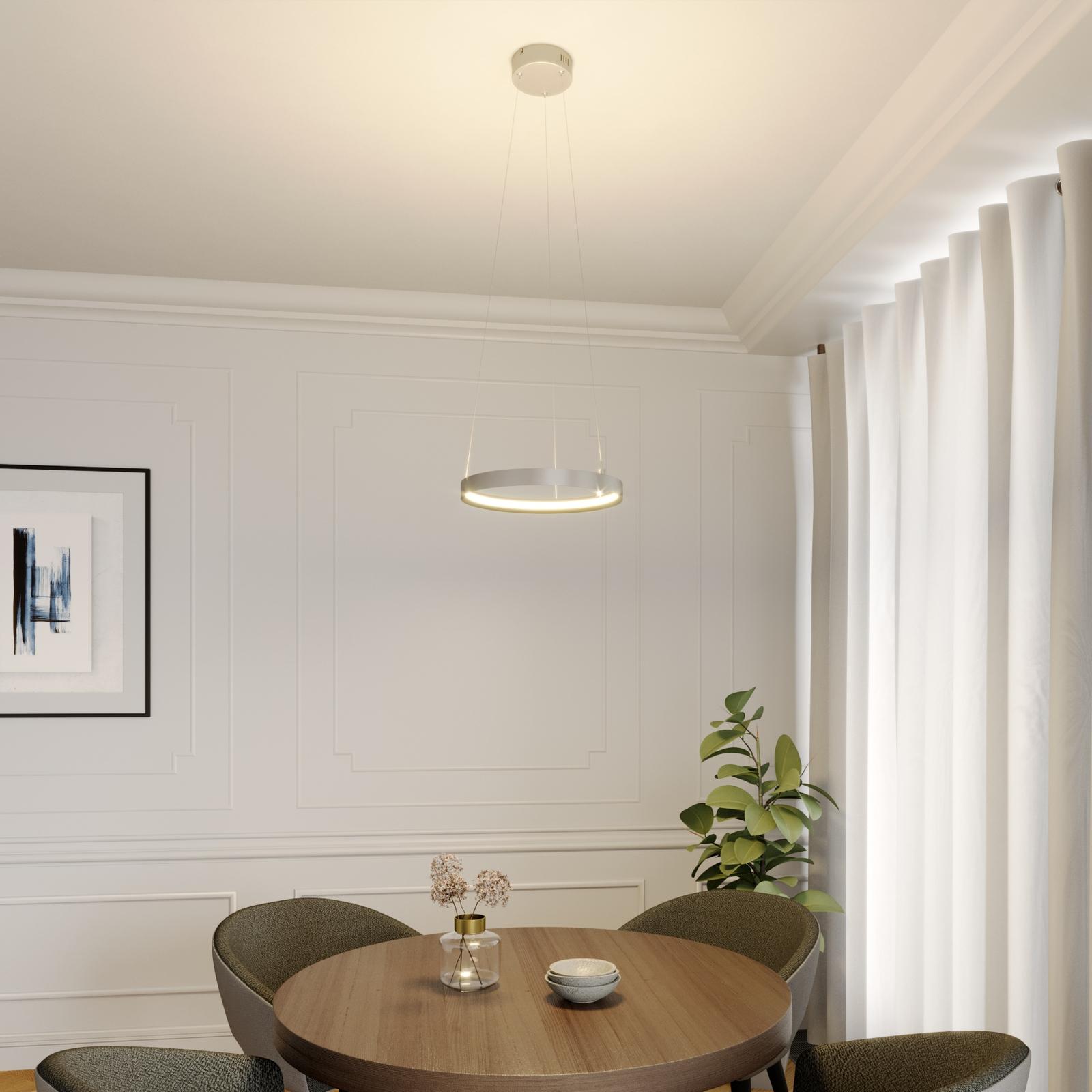 Lucande Naylia -LED-riippuvalo nikkeliä, Ø 40 cm