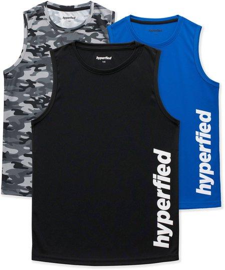 Hyperfied Bounce Tank Top 3-pack, Black/Camo Black/Blue 120