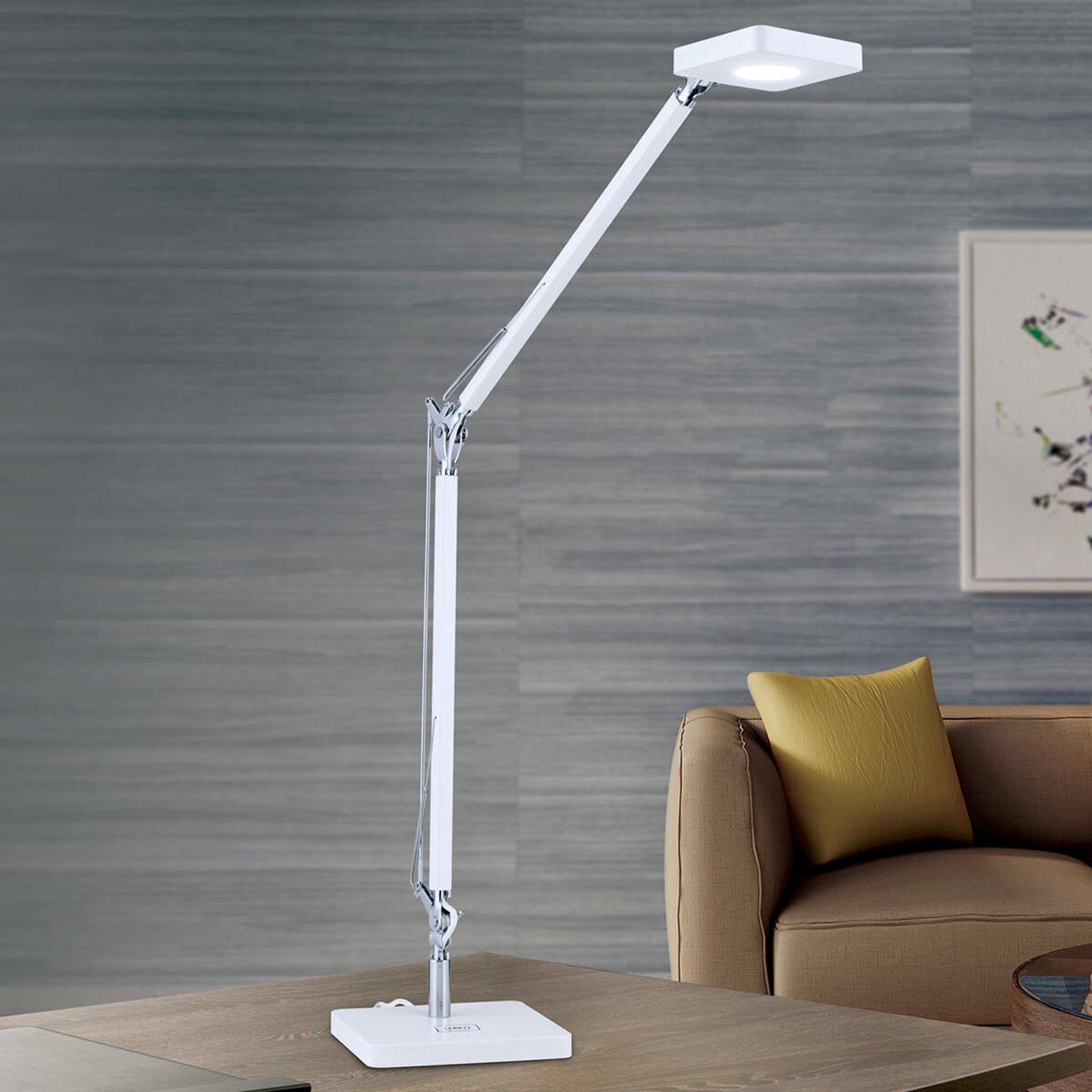 Hvit LED-skrivebordslampe Dave med Qi