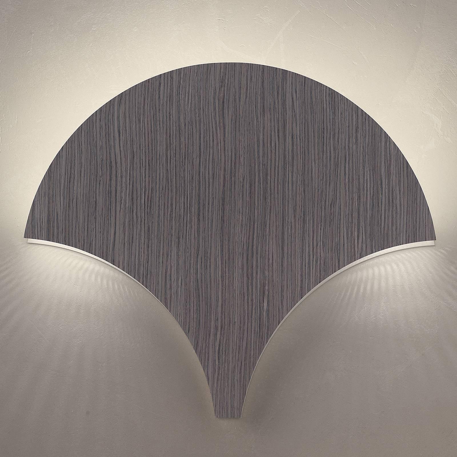 LED-vegglampe Palm, abachi grå