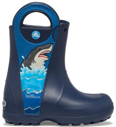 Crocs Fun Lab Shark Regnstøvel, Navy, 23-24