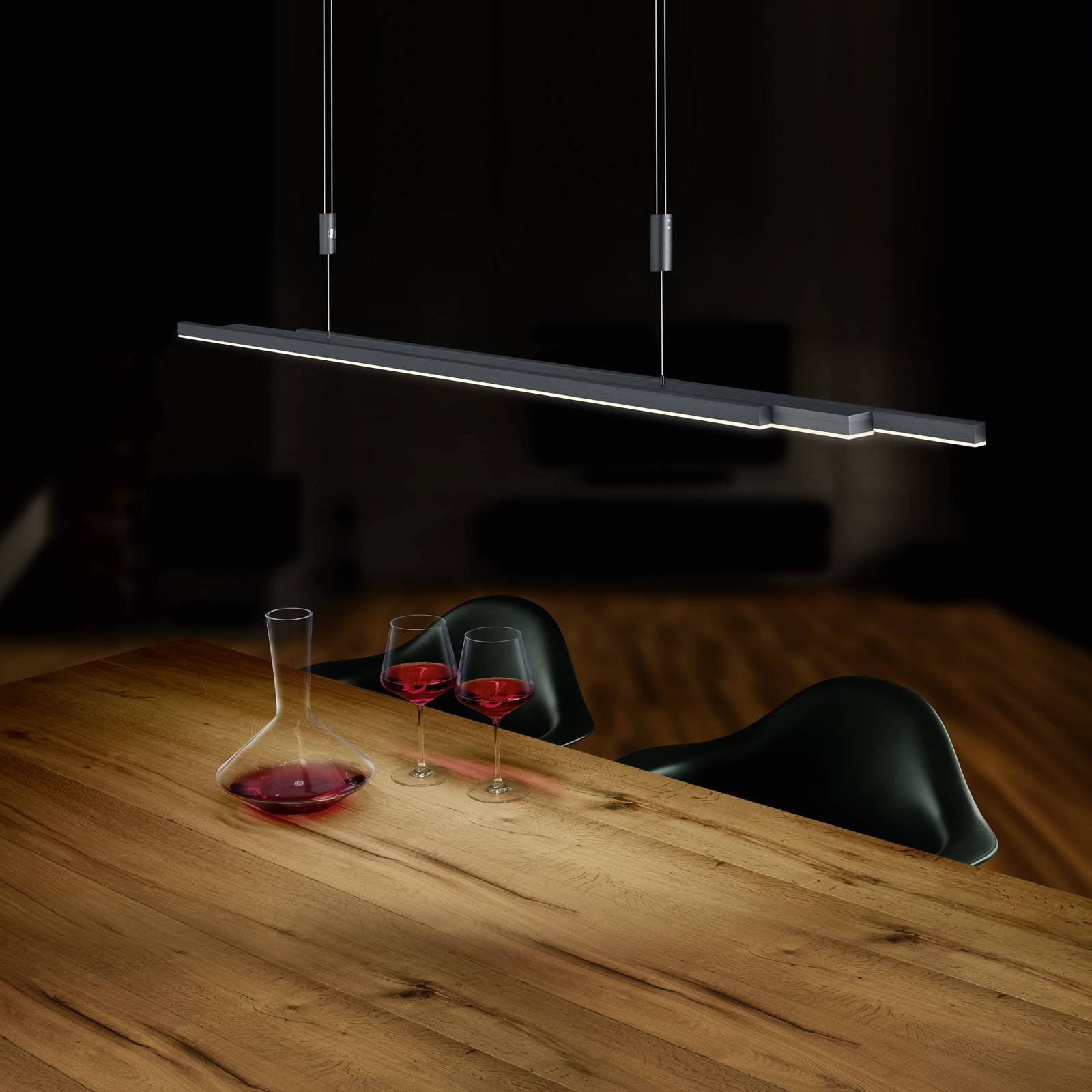 BANKAMP L-lightLINE LED-hengelampe, antrasitt