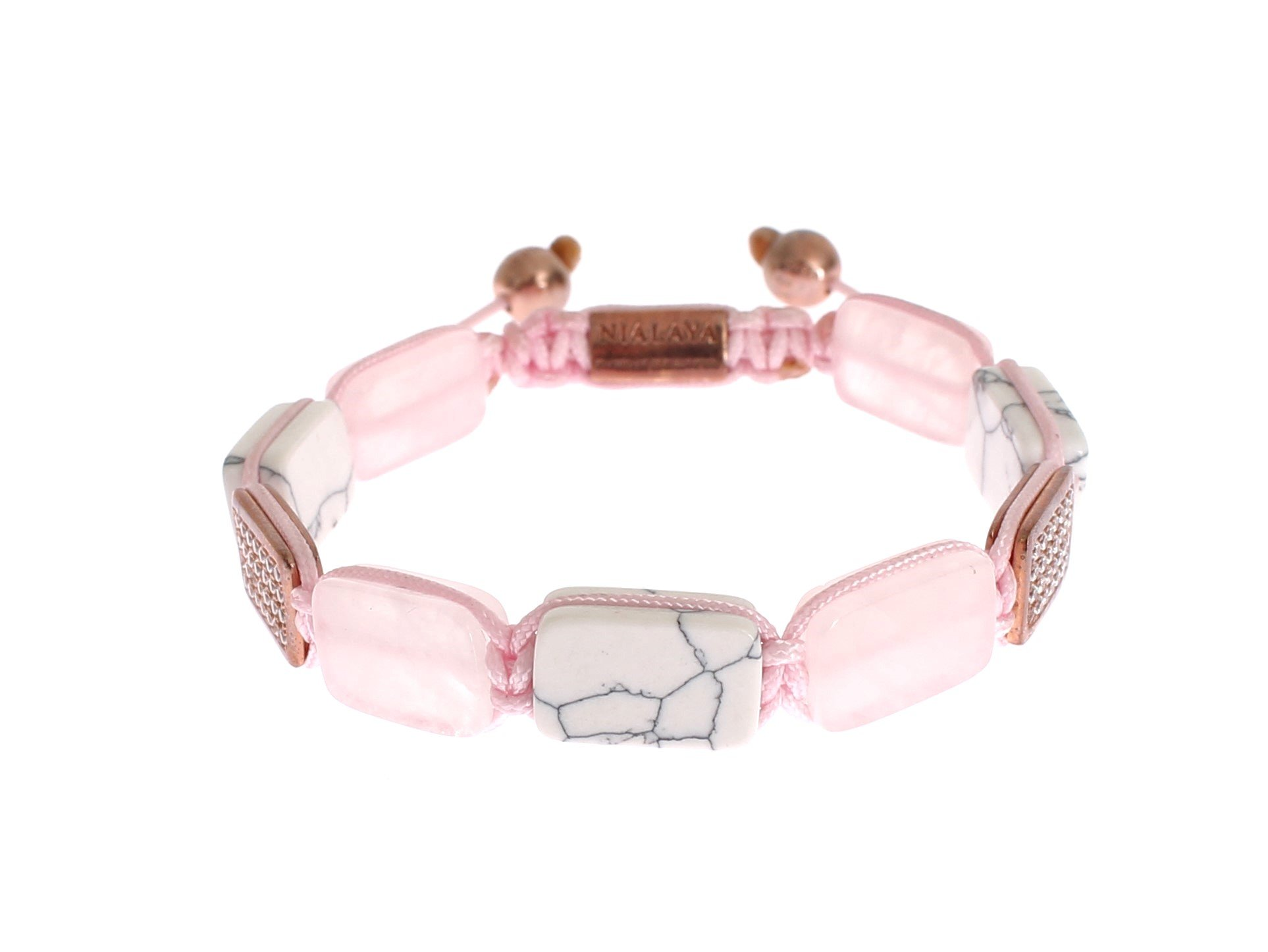 Nialaya Women's CZ Quartz Howlite Rose Gold 925 Bracelet Pink NIA20253 - M