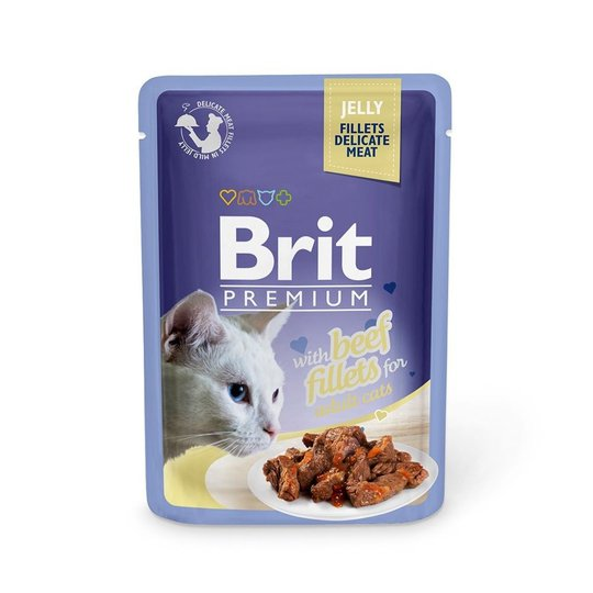 Brit Premium Pouches Fillets in Jelly with Beef