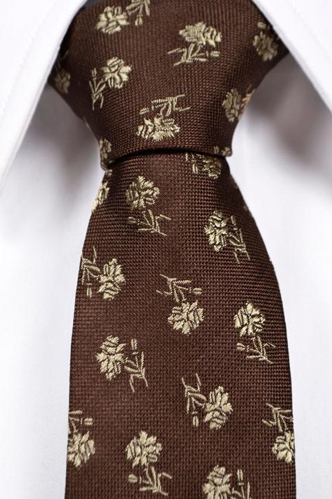 Silke Smale Slips, Brun bunn med blomster i beige, Brun, Flower, Notch NORE