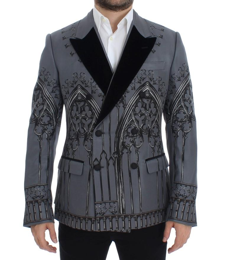 Dolce & Gabbana Men's Silk Knight Two Button Blazer Gray SIG12271 - IT48 | M