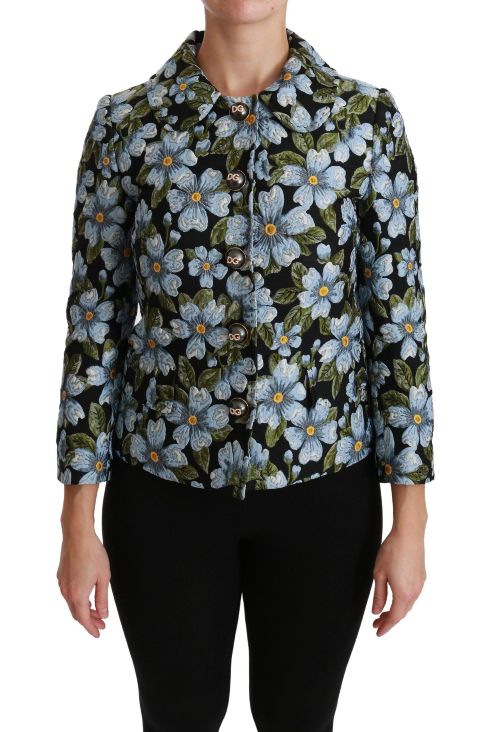 Dolce & Gabbana Women's Floral Coat Polyester Blazer Jacket Black JKT2565 - IT40 S