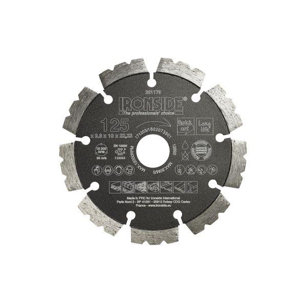 Ironside 201179 Diamantkappskive universell, 125 x 22,23 x 2,3 mm
