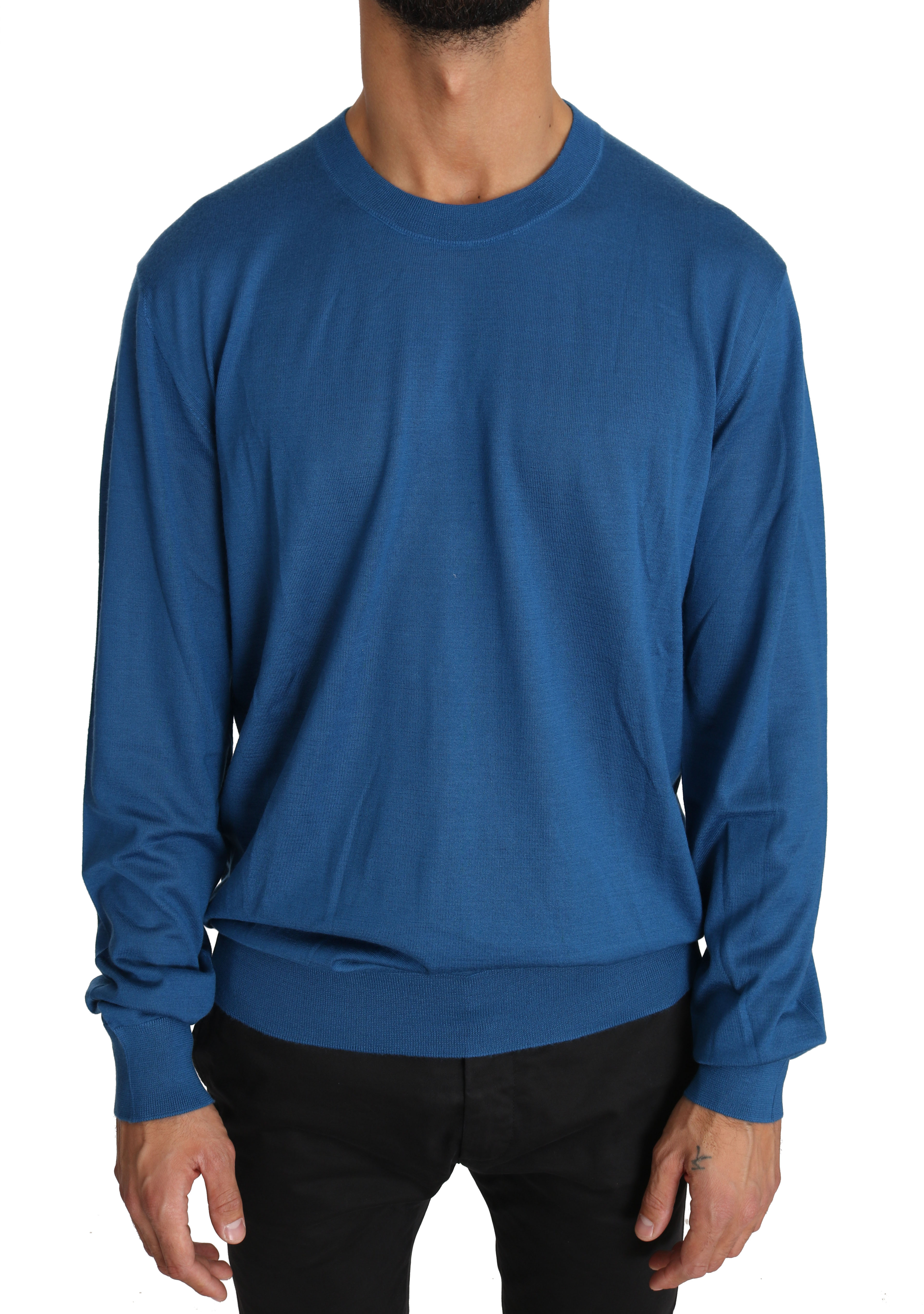 Dolce & Gabbana Men's Cashmere DG Logo Pullover Blue TSH2722 - IT52   XL