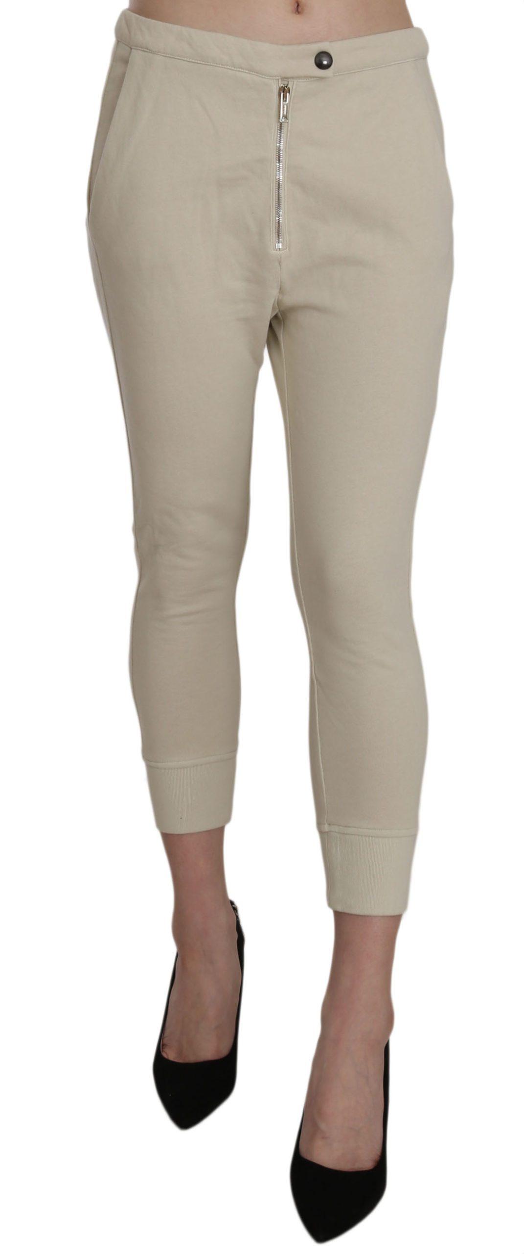 Dondup Women's Mid Waist Cotton Skinny Cropped Trouser Beige PAN70212 - IT40|S