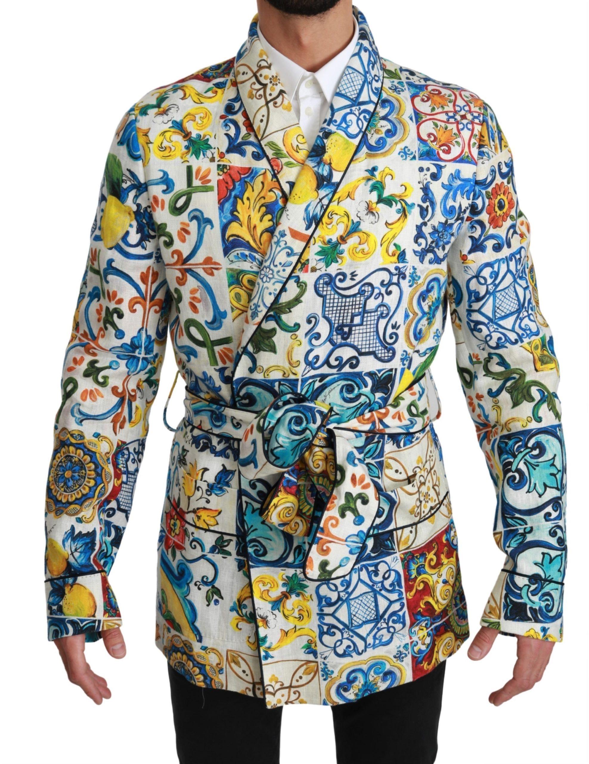 Dolce & Gabbana Men's Brocade Linen Robe Jacket Multicolor JKT2598 - IT46   S