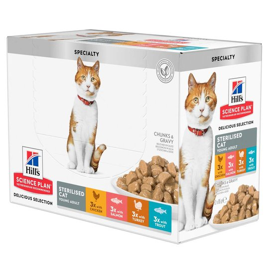 Hill's Science Plan Cat Young Adult Sterilised Multipack 12x85 g