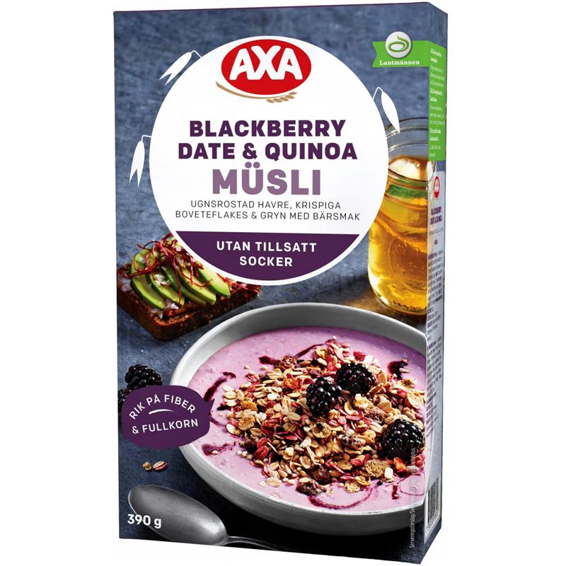"Müsli ""Blackberry, Dates & Quinoa"" 390g - 46% rabatt"