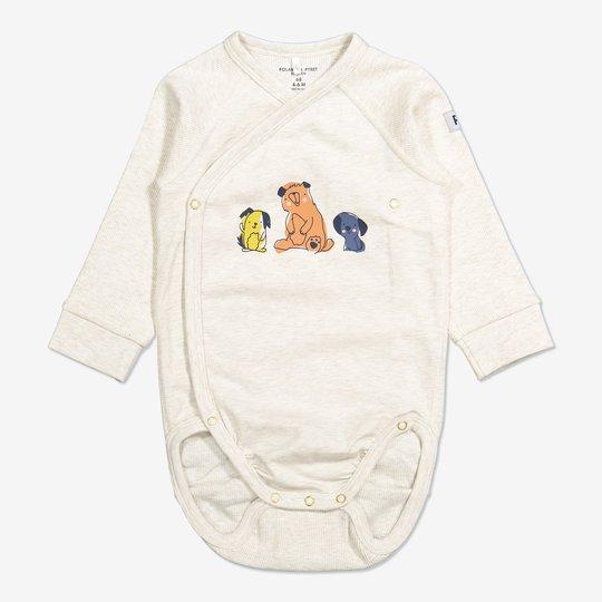 Omslagsbody med lekende dyr baby beige