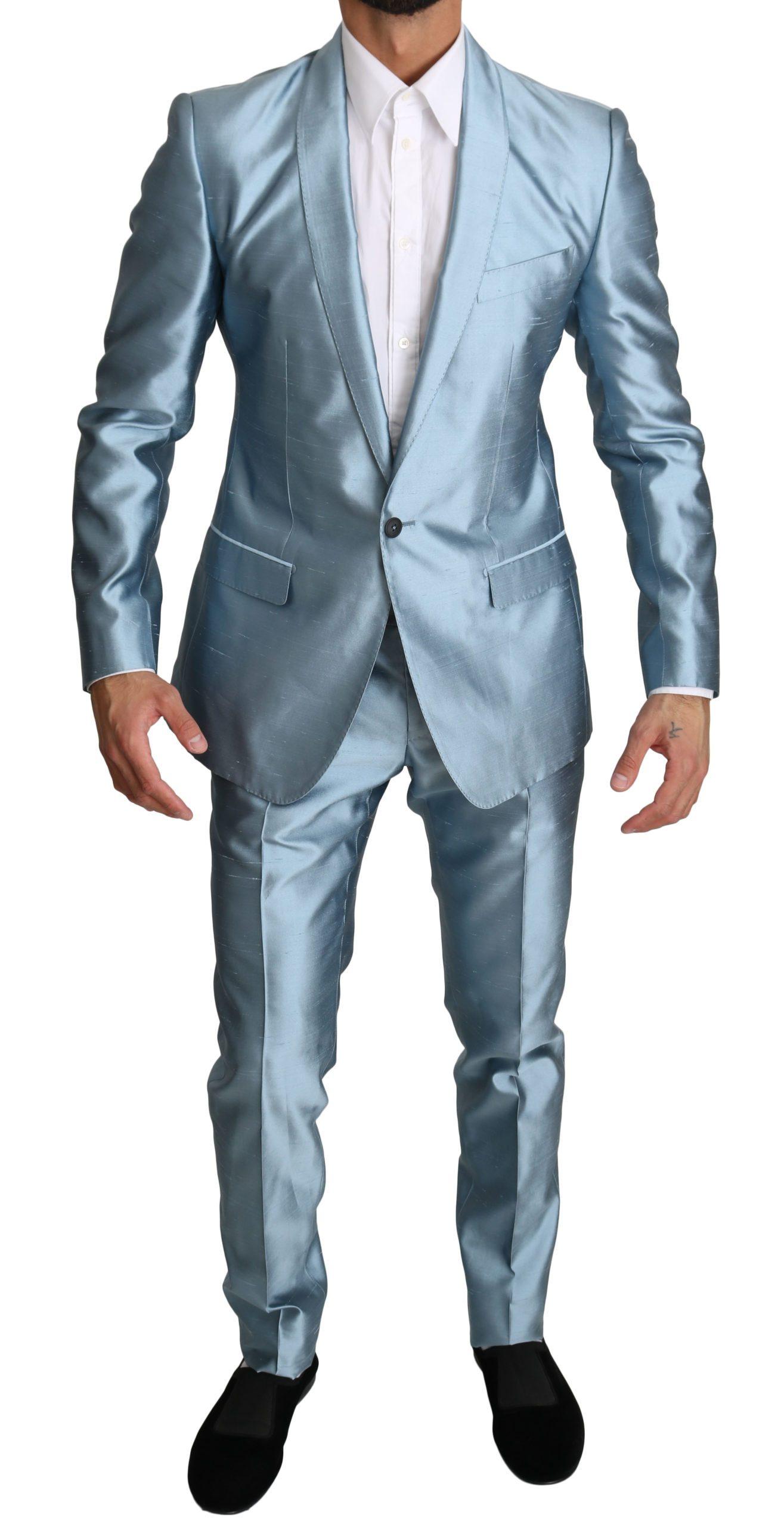 Dolce & Gabbana Men's Metallic 2 Piece MARTINI Suit Gray Light-blue KOS1553 - IT54   XL