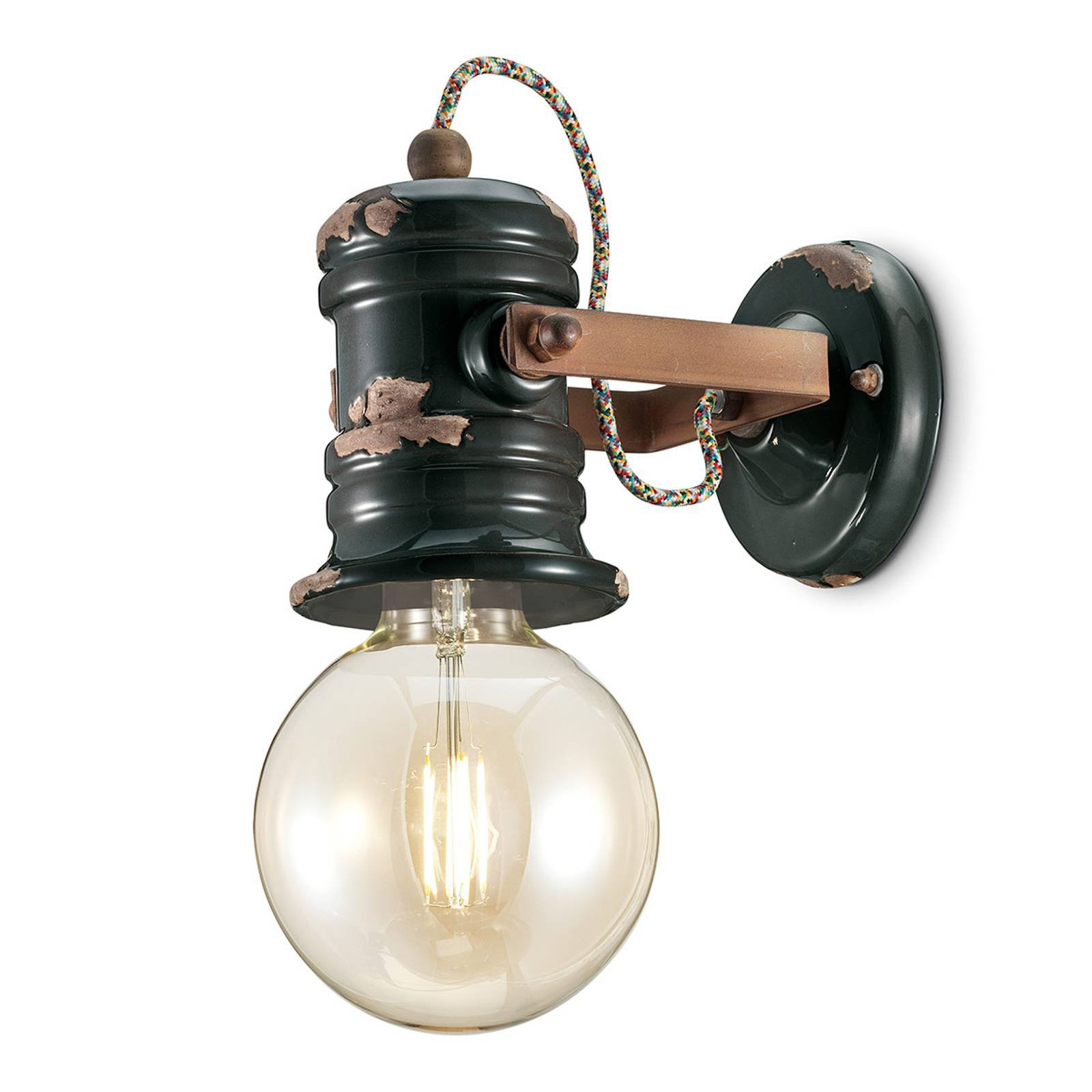 Vegglampe C1843 i vintagedesign svart