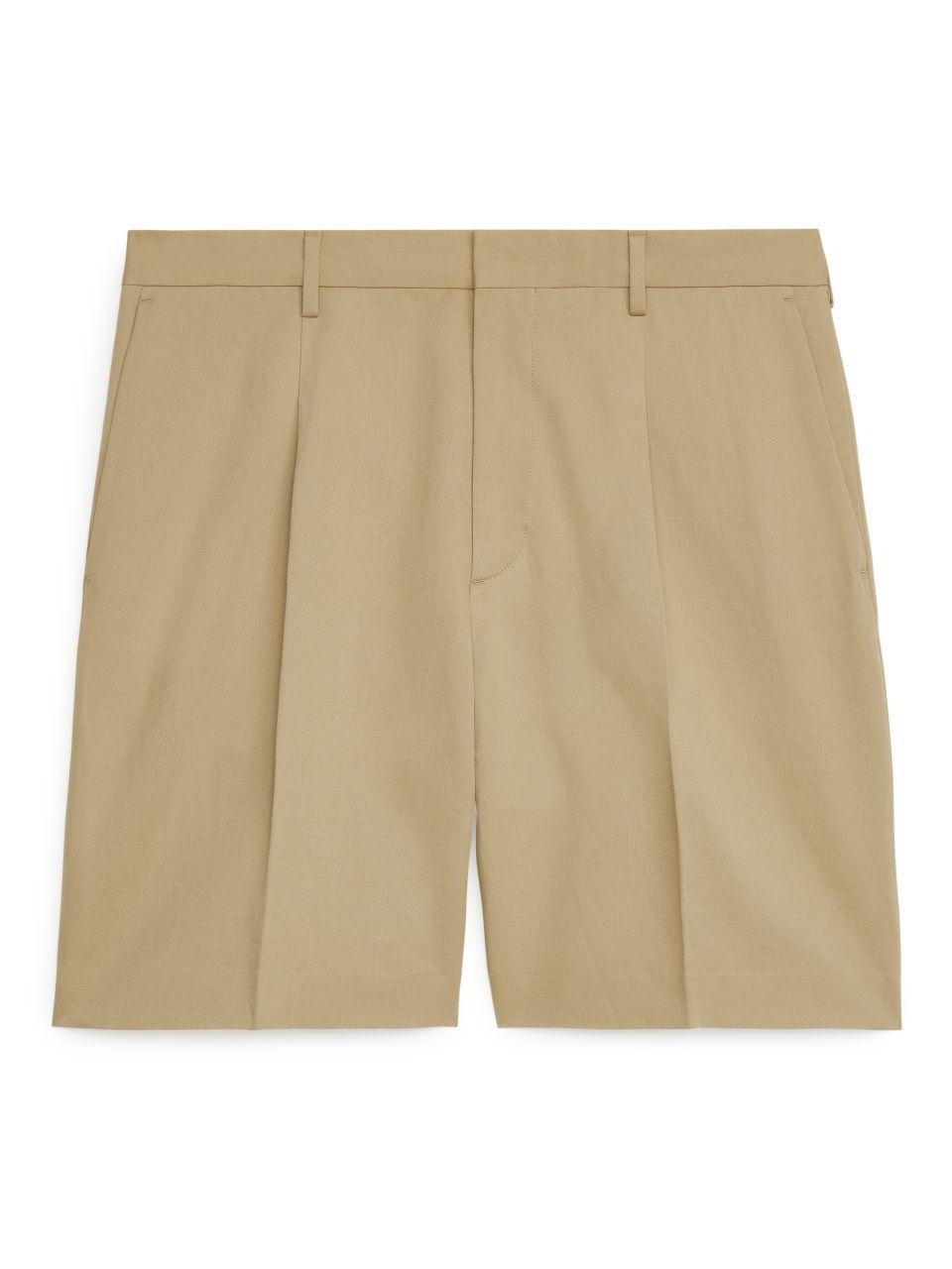 Loose Fit Linen Shorts - Beige