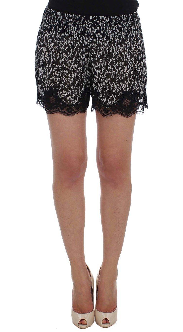 Black White Floral Lace Silk Sleepwear Shorts - IT4 | L