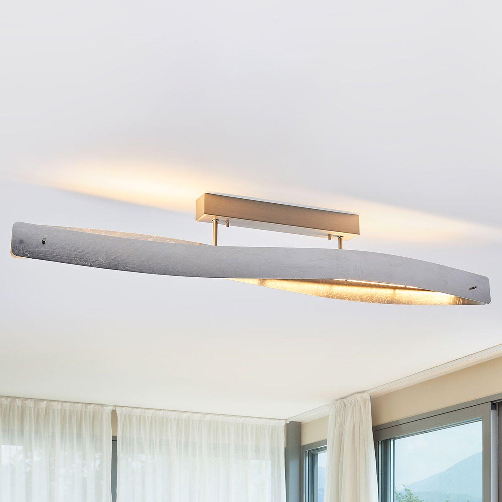 Sølvskinnende LED-taklampe Lian - dimbar