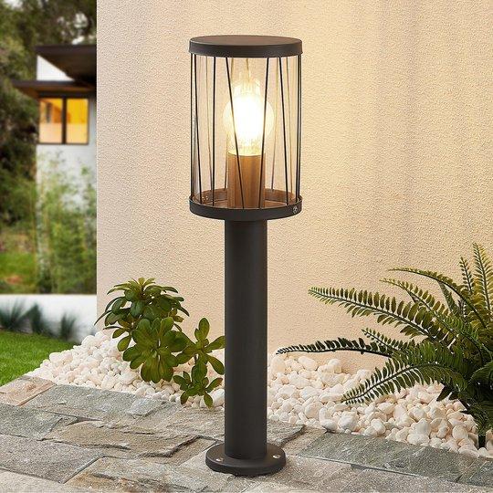 Lindby Yonan -pollarilamppu, pyöreä, harmaa, E27