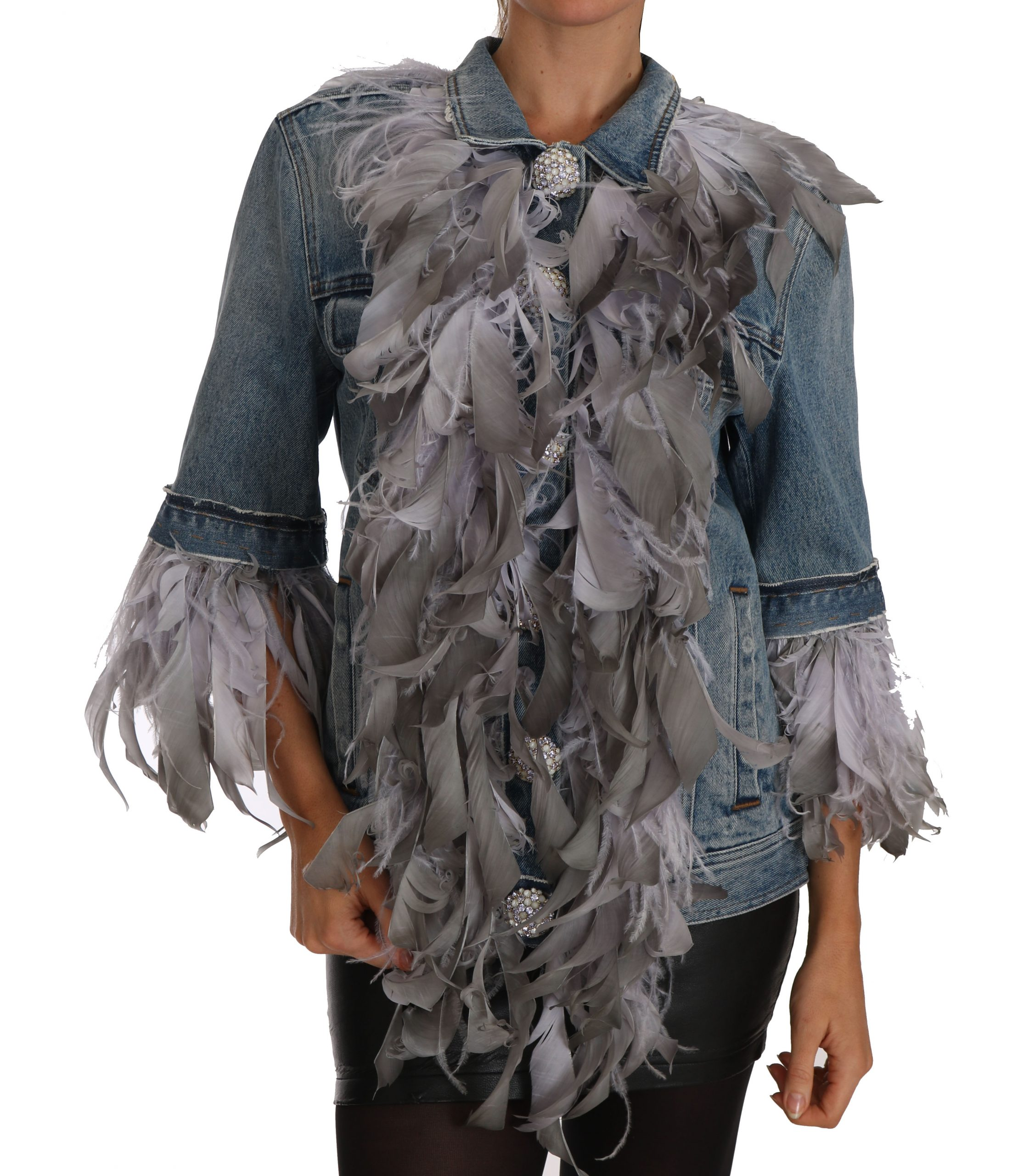 Dolce & Gabbana Women's Denim Feathers Embellished Buttons Jacket Blue TSH2325 - IT40 S