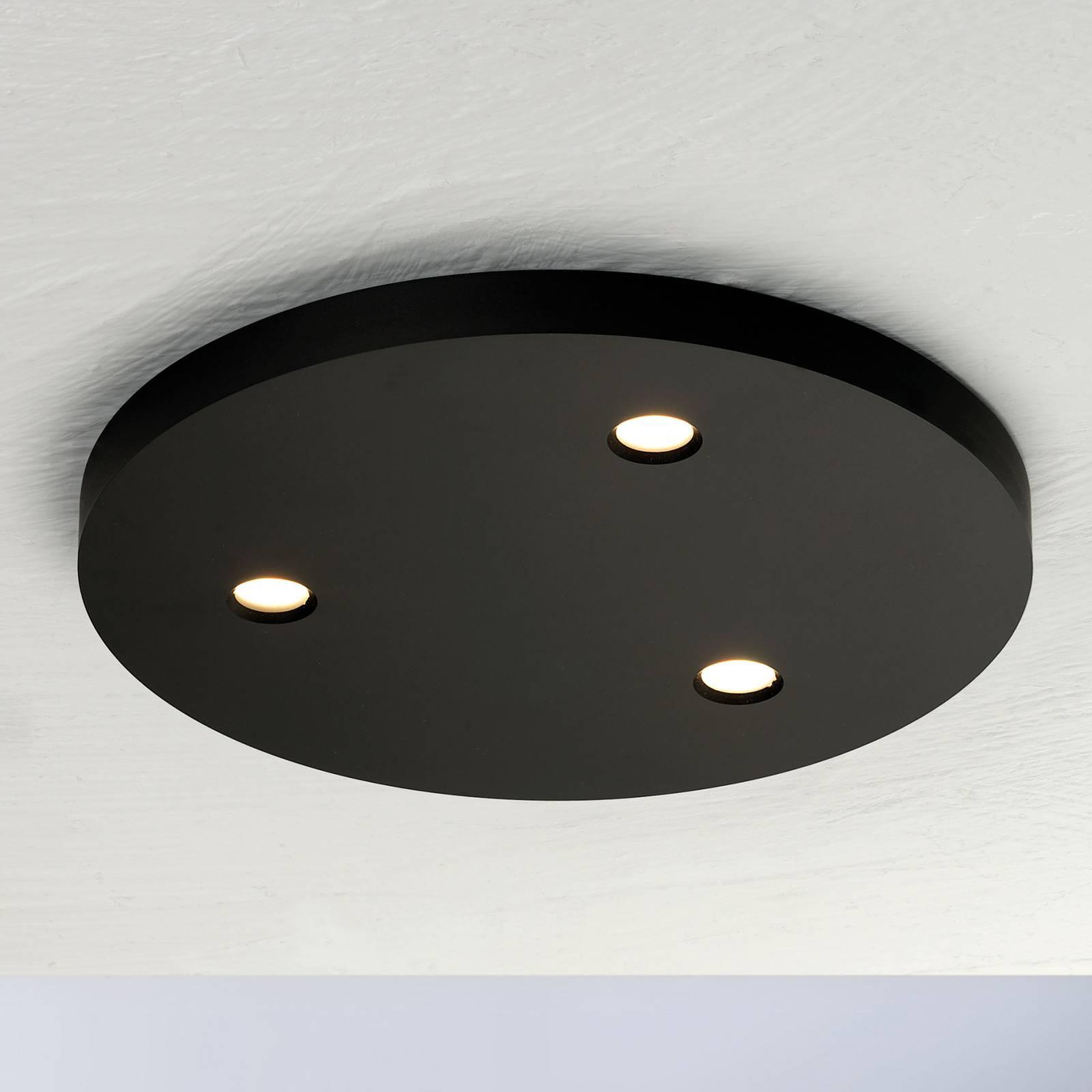 Bopp Close LED-kattovalaisin, 3-lamp, pyöreä musta