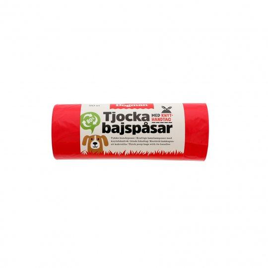 Dogman Tjocka Bajspåsar med Handtag 50-pack (Röd)