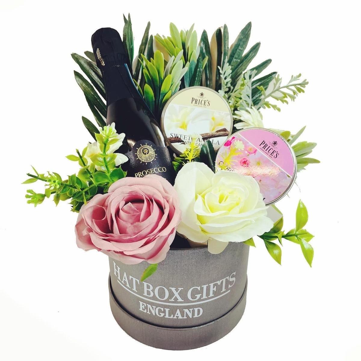 Hat Box with Price's Candles, Prosecco & Flowers